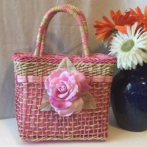 HANDCRAFTED PINK FUSHIA WEAVE SATCHEL BAG